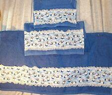 Home Decor' Towel Bath Angels Bright Blue Set 3 Pieces Hand Towel Wash Cloth NEW