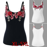 Moda Womens Plus Size Rose ricamo floreale Canottiere camicia camicetta Camisole