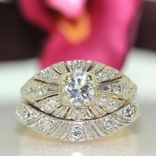 Estate 14k Platinum & Yellow gold Natural VVS1 Old Mine Diamond 2pc Vintage Ring