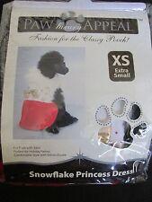 NEW PAW APPEAL DOG/PUPPY PET FASHION SNOWFLAKE PRINCESS DRESS RED/WHITE FUR XS