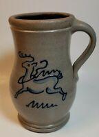 Rowe Pottery Works Salt Glazed Blue Raindeer Handled Vase Hand Made 2005 USA