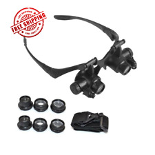 Magnifier Loupe Jeweler Magnifying Glasses Tool Set with LED Light Double Eye