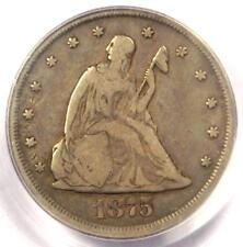 1875-CC Twenty Cent Coin 20C (Carson City) - Certified PCGS F12 - $475 Value!