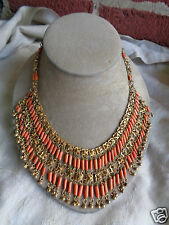 VINTAGE ART DECO EGYPTIAN REVIVAL CLEOPATRA NATURAL CORAL BIB COLLAR NECKLACE