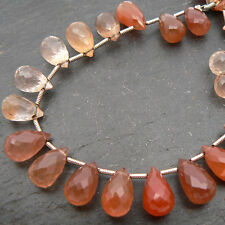 Copper Quartz Faceted Briolette Drop (Per Bead)