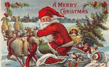 """A MERRY CHRISTMAS"" Santa Claus Reindeer Sleigh Toys c1910s Vintage Postcard"