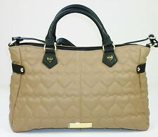 """AUTHENTIC BETSEY JOHNSON LARGE """"BE MINE"""" FAUX LEATHER SATCHEL IN SPICE & BLACK"""