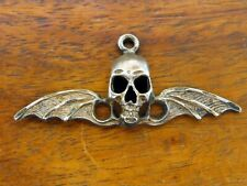 Vintage silver SKULL BAT WINGS BIKE BIKER MOTORCYCLE PENDANT HALLOWEEN charm