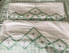 Vintage Pillowcase Pair White With Crochet Trim +pained Flower 22/32