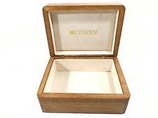 "Vintage Citizen Hinged Wood Watch Box Jewelry Trinket Storage Case 5.75"" x 4.5"""