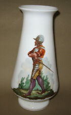 Tall Vintage WHITE MILK GLASS VASE ROMAN SOLIDER FIGURE Footed