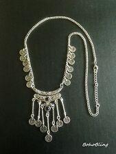 Tribal Moroccan Bohemian Uk N1032 Necklace Long Silver Ethnic Boho Gypsy