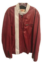Gap Red Leather Racing Motorcycle Jacket - Men's XL