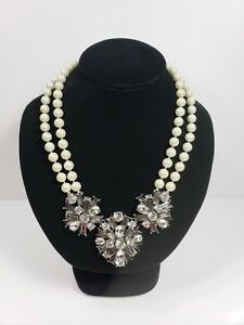 NEW Charter Club Double Strand Glass Pearl and Rhinestone Statement Necklace