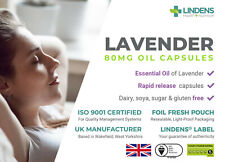 Lavendel Ätherisches Öl 80mg 60 Kapseln Entspannung Angst zuckerfrei Made in UK