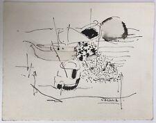 GUY CASAMA (1922-1972) Dessin Original Encre Paysage Bateaux Carte de Voeux 1965