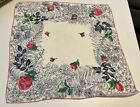 Navy Leaves with Pink Roses Vintage Handkerchiefs