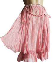 Layered Textured PINK chifon/lacet ladies skirt UK size 10 12, 62 cm long PARTY