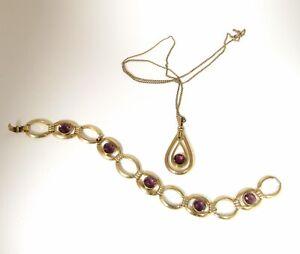 VTG SIMMONS Gold Filled Faux Amethyst Pendant Bracelet Purple Glass Bezel Set