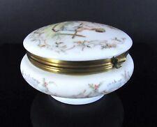 Large Vintage Antique Hand Painted Victorian Glass Dresser Trinket Floral Box