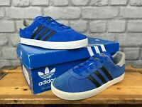 ADIDAS GAZELLE BLUE BLACK GREY SUEDE TRAINERS B25210 CHILDREN, BOYS
