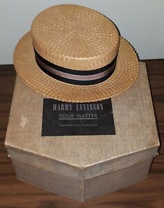 Harry Levinson Very Vintage Men's Sailor Straw Hat in Original Box.1930s/40s/50s