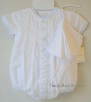 NWT Petit Ami Boys White Plane Car Train Creeper Romper Bubble Hat Newborn Baby
