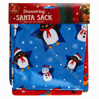 Pack of 2 LARGE 76cm x 60cm Christmas Drawstring Santa Sacks Gifts Stockings Kid