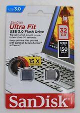 BNIB SANDISK Ultra Fit USB 3.0 Flash Drive 32GB Up To 150MB/s Memory Stick