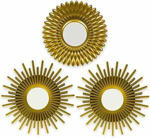 Gold Mirrors for Wall Pack of 3 - Wall Mirrors for Room Decor & Home Decor