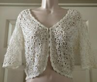 INC White Floral Crocheted Short Sleeve Cropped Cardigan/Shrug W/Rhinestones (M)