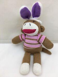 """Brown Sock Monkey Pink Striped Easter Bunny Ears Dan Dee Plush 9"""" Toy Lovey"""