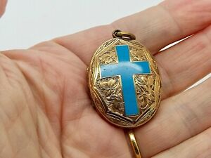 Large Antique Yellow Metal Gold Plated? Engraved Photo Locket Blue Enamel Cross