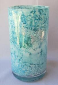 "Genuine Italian Art Glass 6"" Vase Franco Italy Blue Marbled No 789"