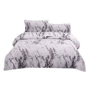 3pcs Marble Bedding Set Comforter Cover Pillowcase Zipper King Queen Twin