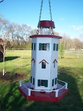 Solar Lighthouse white, with red and green trim / Birdfeeder Nautical