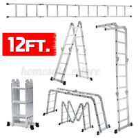12Ft Aluminum Folding Ladder Multi-use Extension Multi-fold 12 Steps EN131 CE