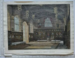 1807 ANTIQUE TURNER PRINT INSIDE VIEW of the HALL of CHRIST CHURCH HAND COLOURED