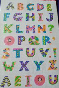 Vintage American Greetings Stickers Neon Alphabet Letters 1 Sheet