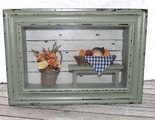 3D Wall Art Shadow Box County Decor - Table w/ Fruit & Vegetable Bowl & Flowers