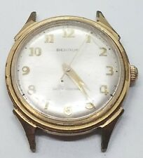 Vintage Yellow Gold Filled Plated Benrus Mens Circular Wrist Watch