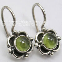 "925 Sterling Silver PERIDOT Antique Style Dangle Earrings 0.7"" Handmade"