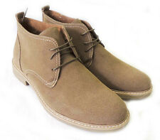 NEW MENS ANKLE BOOTS FAUX SUEDE LEATHER LINED CHUKKA LACE UP SHOES / Khaki