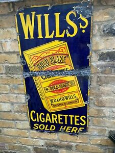 Vintage Will's Gold Flake Cigarettes Enamel Advertising Sign