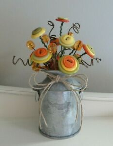 Button Flower Bouquet in MINI Metal Milk Can - Fall Autumn Home Decor Item #300