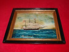 Vintage Framed Reverse Painting on Glass of a Brig Ship Flying the American Flag