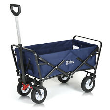 More details for wagon folding cart collapsible garden beach utility outdoor camping sports blue