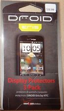 3 NEW VERIZON HTC DROID ERIS CELL DISPLAY PROTECTORS*SCREEN WIPE*SMOOTHING CARD!