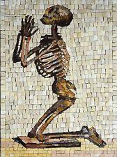 Skeleton praying marble mosaic Mosaic Designs Others Mosaic Tile