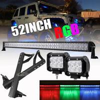 """52"""" LED Light Bar Multicolor + 4"""" 18W Pods + Mount Bracket For Jeep Wrangler JK"""